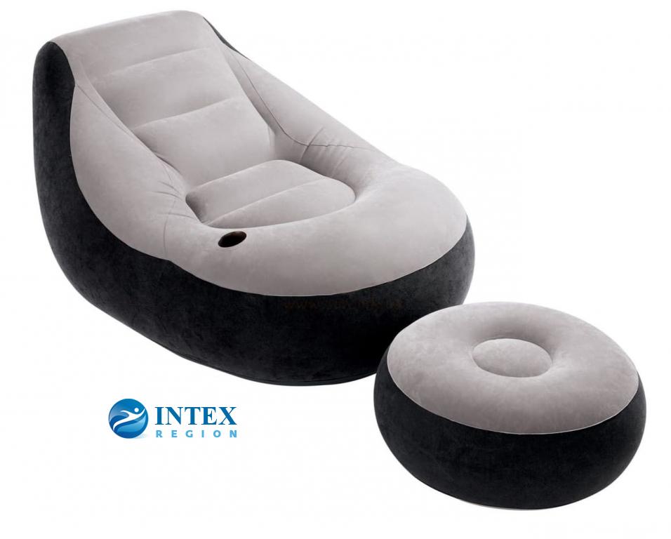 68564 Надувное кресло 99х130х76см с пуфиком 64х28см, 100 кг