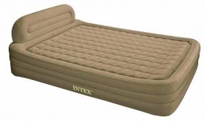 66980 Надувная кровать со спинкой с тканевой обшивкой беж. 178х246х79см с встр.эл.насос.220В