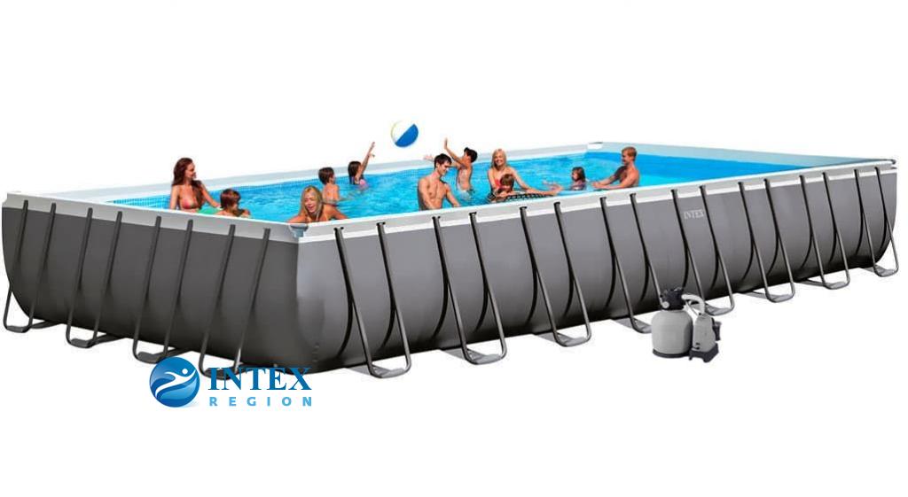 Бассейн каркасный Intex Rectangular Ultra Frame Pool - 26376.28376 975х488х132 см