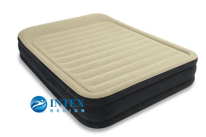 64404 Надувная кровать Premium Comfort 152х203х33см с подголовником, встроенный насос 220V