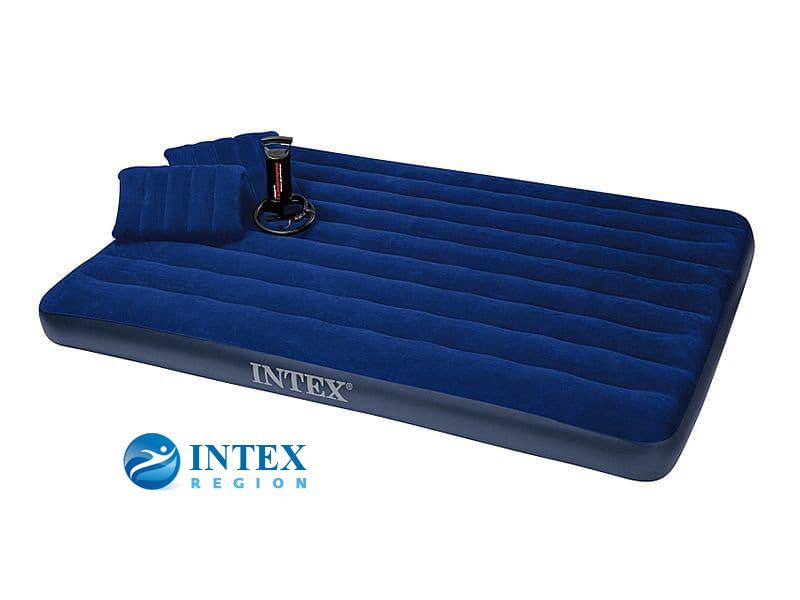 68765 Надувной матрас Classic Downy Bed, 152х203х22см с подушками и насосом