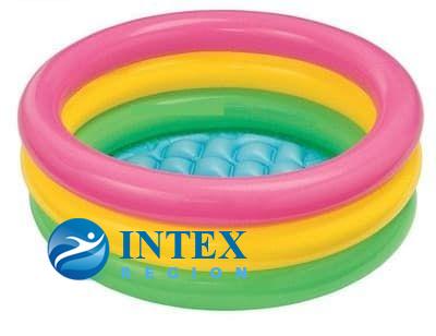 Бассейн 3 кольца с надувным дном Intex арт. 57107 61х22см, на 1-3 года