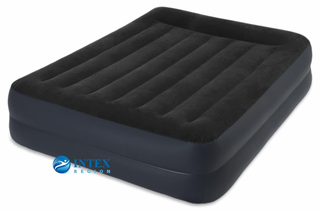 64124 Надувная кровать Pillow Rest Raised Bed 152х203х42см с подголовником, встроенный насос 220V