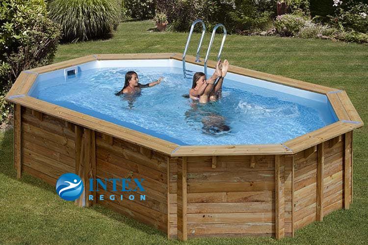 Овальный деревянный бассейн 551x351x119 см CANELLE GRE 790087