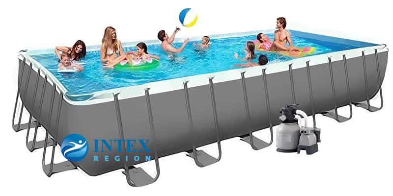 Бассейн каркасный Intex Rectangular Ultra Frame Pool - 26364.26362 732х366х132 см