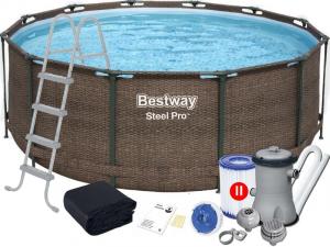 """Каркасный бассейн Bestway 5617V Steel Pro 366х122 см """"Ротанг"""", фильтр-насос, лестница, тент"""