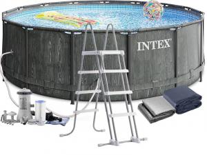 Каркасный бассейн Intex  26742 457х122 Grey Wood Prism Frame Premium