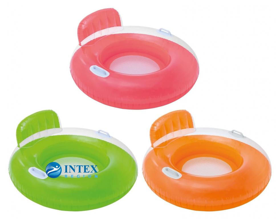 Надувной круг-кресло со спинкой и ручками Intex арт.56512 102см, 3 цвета от 8 лет