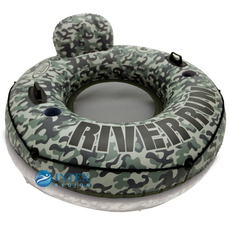 Надувной круг со спинкой Хаки River Run I Intex арт.58835 135см