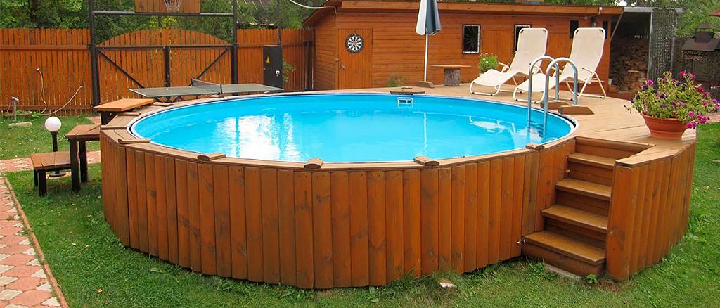 Установка каркасного бассейна на даче